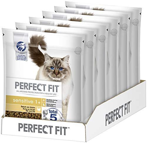 Perfect Fit Sensitive 1+ – Trockenfutter für erwachsene, sensible Katzen ab 1 Jahr – Reich an Huhn – Ohne Weizen und Soja – Unterstützt die Verdauung – 6 x 750 g