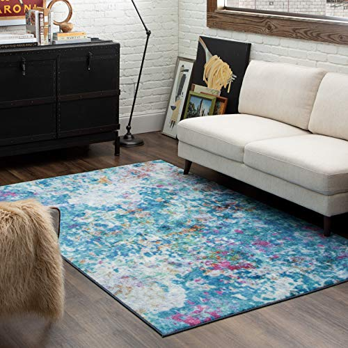 Mohawk Home Art Explosion Multicolored Abstract Marble Precision Printed Area Rug, 5'x8', Blue
