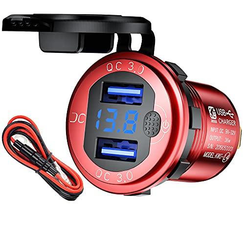 Enchufe USB de 12 V, cargador de coche con interruptor, carga rápida 3.0, 24 V, enchufe empotrado, resistente al agua, para moto, caravana, barco, camión