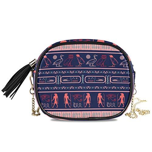 QMIN Umhängetasche, ägyptisch, Ethnisch, Tribal, Hieroglyph, kleine Handtasche, PU-Leder Schultertasche, Organizer mit Kettenriemen, Quasten für Frauen, Mädchen und Damen