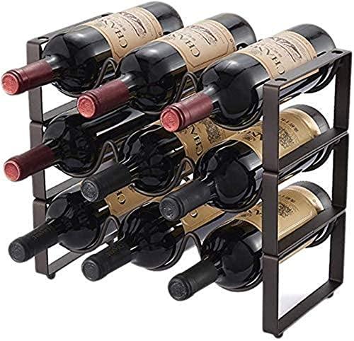 CCAN Estante de Vino de Hierro de Metal, Organizador de Vino Inferior, 9 Botellas, Capa 3, Soporte de Barra de Botella Decorativa apilable, Almacenamiento de 35x17x33cm Interesting Life