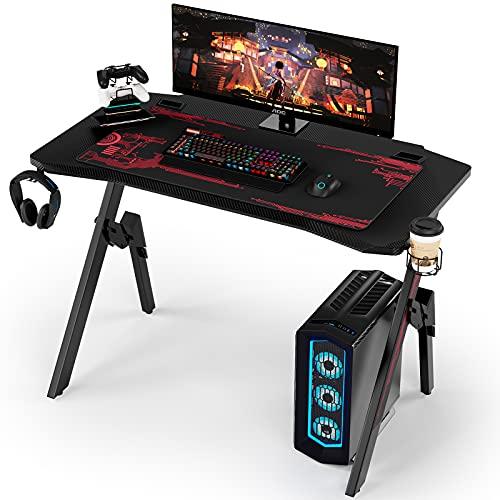 Homfa Mesa Gaming PC Escritorio Gaming Mesa para Ordenador con Portavaso Gancho para Auriculares Soporte para Gamepad Alfombrilla de Ratón Negro 110x55x75cm