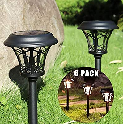Solar Lights Pathway Outdoor , 6 Pack Glass Outdoor Solar Lights - Solar Pathway Lights, LED Landscape Lighting Solar Powered Outdoor Lights Solar Garden Lights for Pathway Patio Yard & Lawn