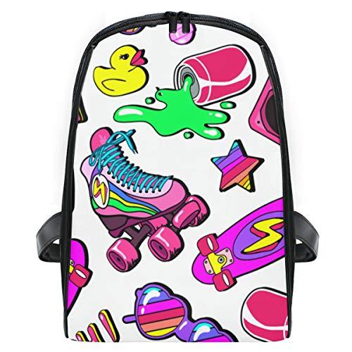 ELIENONO Nahtloses Muster-Bunte Element-Skateboard-Pizza,Laptop Rucksack für Männer Schulrucksack Multifunktionsrucksack Mini Tagesrucksack für Schule Wandern Reisen Camping
