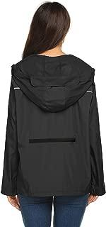 Packable Rain Jacket Women Light Weight Waterproof Reflective Raincoats