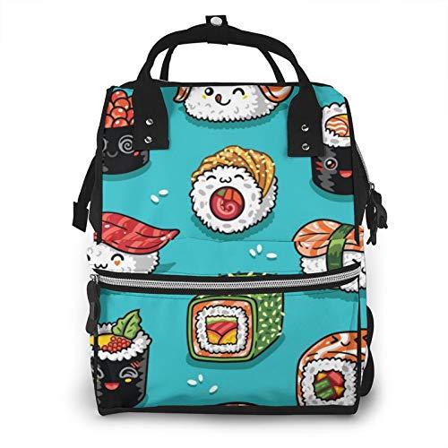 Bolsas de pañales para mamá, mochila Kawaii Sushi y Sashimi, gran capacidad, para el cuidado del bebé