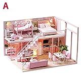 wendaby DIY Puppenhaus 3D Holz Miniaturhaus Kit Mit LED Licht Kunsthandwerk Geschenk Für Valentinstag, Kindertag, Weihnachten, Hochzeit, Geburtstag