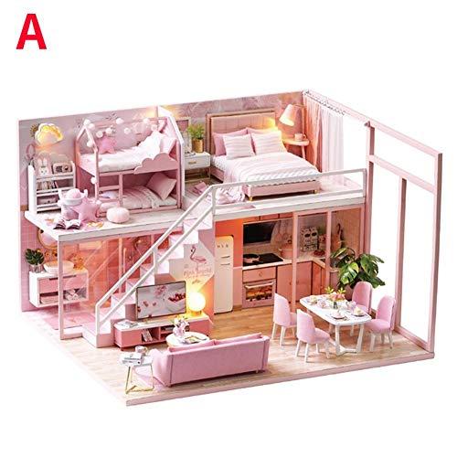 DIY Häuser für Minipuppen,Miniatur Loft Puppenhaus Kit Miniatur Möbel Mini 3D Rosa Holzhaus Zimmer Spielzeug mit Led-leuchten Spieluhr Kinder Mini Montage Villa Haus