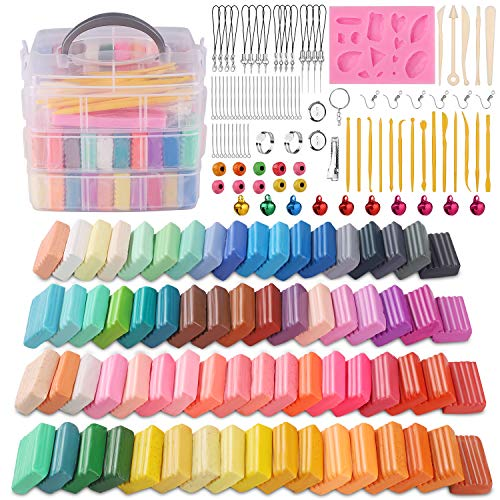 Polymer Clay, DeeCoo 70 Colors 1.2 oz/Block Soft Oven Bake Modeling Clay Kit, 19...