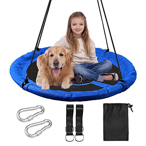 """RedSwing Saucer Tree Swing for Kids Indoor Outdoor, 43"""" Large Round Swing, 500 Lbs Weight Capacity, Great for Tree, Swing Set, Backyard, Playground, Easy to Install, Blue"""