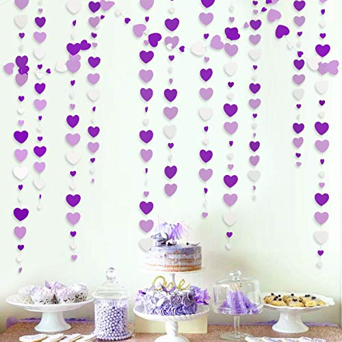 52 Ft Purple and White Love Heart Garland Lavender Hanging Paper Streamer Banner for Anniversary Mother's Day Birthday Engagement Wedding Baby Bridal Shower Valentine Day Party Decorations Supplies