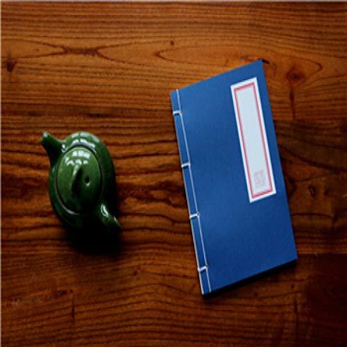 XGQ Cuaderno Antiguo Tradicional de Estilo Chino Cuaderno de caligrafía Antigua Cuaderno de Costura Hecho a Mano Bloc de Notas de Kungfu (Rojo) (Color : Blue)