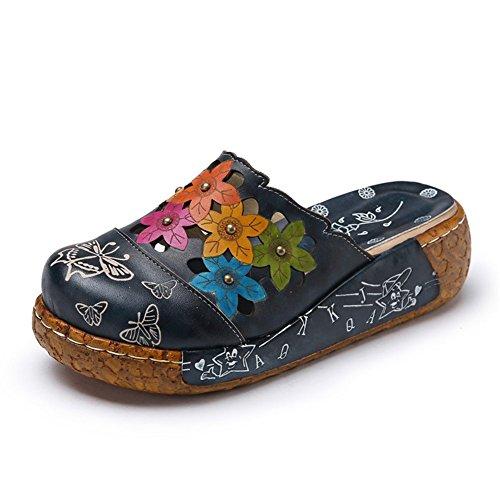 Sandalias Mujer, Popoti Sandalias Verano Cuero Zapatillas Mocasines Chanclas de Bohemia Zapatos de Flores Vintage Zapatillas de Chanclas Tacón De Cuña de Playa Nuevo-Marrón 41
