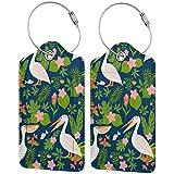 Pelícanos de flores tropicales personalizadas de cuero maleta de lujo conjunto de etiquetas de equipaje de viaje