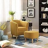 ZYMY Sessel, moderner Akzentsessel, gepolstert, bequemer Leinenstoff, Einzel-Sofa-Sessel mit Fußstütze (gelb)
