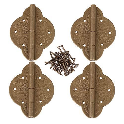 BQLZR Juego de 4 bisagras para puerta de armario de madera de bronce antiguo con tornillos CYF230 (5 x 3,9 cm)