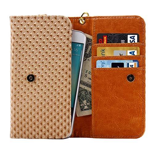 DFVmobile - Etui Tasche Schutzhülle mit Design Rasterfeld Gewebe mit Kartenfächer für ALLVIEW P6 Quad Plus - Beige