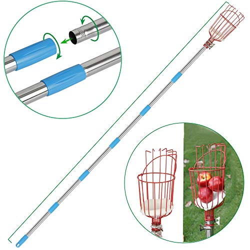 RAUVOLFIA Fruit Picker Tool 8 Foot Fruit Picker with Detachable Stainless Steel Pole Fruit Picking Equipment for Getting Fruits