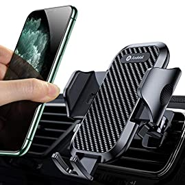 """Andobil Car Phone Mount Ultimate Smartphone Car Air Vent Holder Easy Clamp Cradle Hands-Free Compatible with iPhone 12/12 Pro/11 Pro Max/8 Plus/8/X/XR/XS/SE Samsung Galaxy S20/S20+/S10/S9/Note 20/10 9 : With the latest improved vent clip , this car phone holder could hold your phone firmly even on the bumpiest road. It is the first one within the market that adapts the aviation material """"PTFE"""", so andobil car holder could work well for you in extremely harsh environments. : Andobil product manager designed the first adjustable foot of car phone holders on Amazon. Avoid some cell phone power or volume button will be squeezed by the clamp arm. Compatible for all 4-7 inch smartphones, such as iPhone 12 Mini/12 Pro/11/11 Pro/11 Pro Max/XS/X/iPhone 8/8 Plus/iPhone 7/7 Plus Samsung Note 20/Note 10/S10/S10E/S9/S9plus etc. : Andobil design engineers upgraded the switch button, which not only made it easier to press it, but also made it quick to open the arm for only 0.1S. What's more, Andobil car phone brackets can withstand more than 20,000 times open&close by repeated tests."""