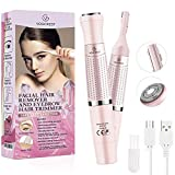 Eyebrow Trimmer & Facial Hair Removal for Women, 2 in 1 Eyebrow Razor and Hair Remover, Rechargeable Painless Eyebrow Lips Body Face Razors for Women…