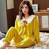 STJDM Bata de Noche,Pajamas Set Ruffle Collar Doll Collar Women Tops + Trousers 2pcs Full Pure Cotton Long Sleeve Nightgown Pijamas XL Y2235