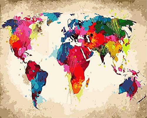 Fuumuui Lienzo de Bricolaje Regalo de Pintura al óleo para Adultos niños Pintura por número Kits Decoraciones para el hogar -World Map 16 * 20 Pulgadas