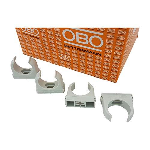 20x OBO Bettermann M32 Quick-Schellen | Klemmschelle | Rohrschelle | anreihbar | lichtgrau | 32mm | 20 Stück