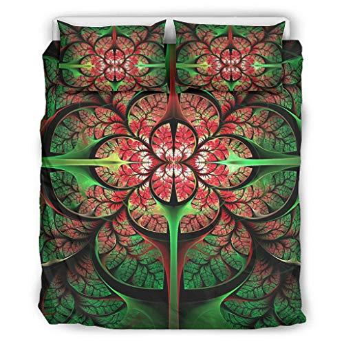 COMBON Shop Colcha de lujo de flores de 3 piezas, funda de edredón suave y fácil de lavar, colcha blanca de 264 x 228 cm