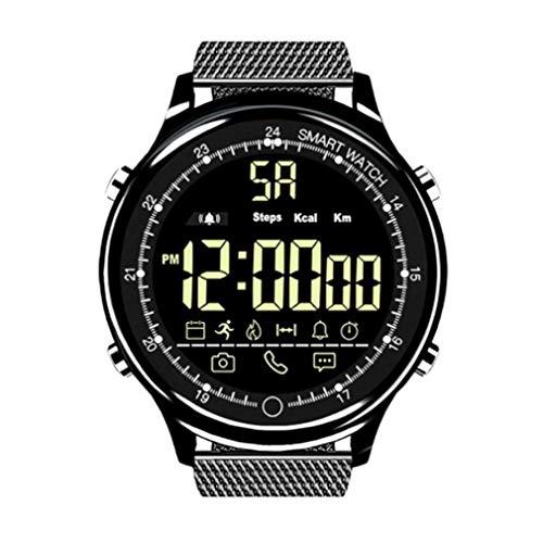 Ex28 Ip68 Reloj Inteligente a Prueba de Agua Soporte Llamada SMS Recordatorio Rastreador Deportivo Negro Acero