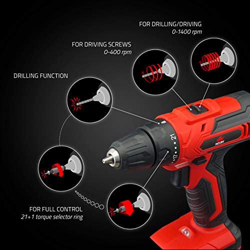 NoCry 20V Cordless Power Drill - Bare Tool ONLY with 30 N.m Max Torque Driver, 2 Gear Speeds (Max 1400 RPM), 10 mm Chuck, 21+1 Clutch Positions & LED Work Light
