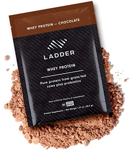 LADDER Sport Whey Protein Powder - 26g Protein, 7g BCAAs, 14g EAAs, 2 Billion CFU Probiotics, No Artificial Sweeteners, 15 On-The-Go Packets, NSF Certified for Sport… (Chocolate)…