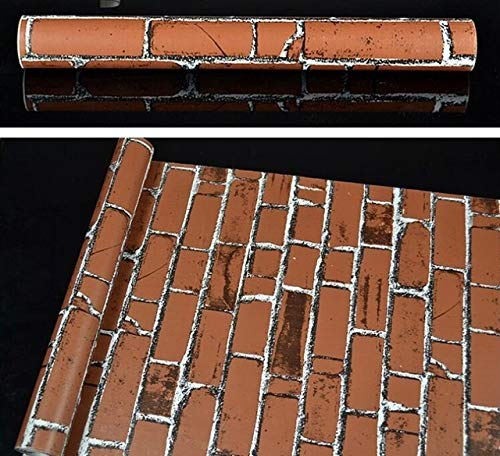 jidan Papel de Pared Ziegel Tapete BF Wand Papier wasserdichte 3D Wandaufkleber in Rollengröße von 45cm * 10m (Color : Brown, Dimensions : 10mx45cm)