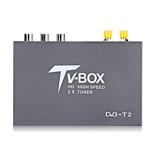 Ricevitore DVB-T2 HD, 1080p, Decoder TV digitale terrestre mobile per auto, con cavi / 2 sintonizzatori di antenna/con telecomando