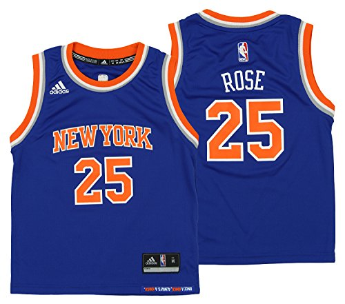 adidas NBA Kid's New York Knicks Derrick Rose Away Replica Jersey, Blue Large (7)