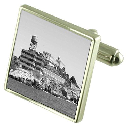 Select Gifts Alcatraz Gefängnis Sterling Silber Manschettenknöpfe graviert Box Optional