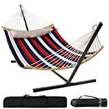 Double Hammocks with 12ft Hammock Stand,Durable Quilted Fabric Hammock w/Foldable Bar & Detachable Pillow,450 Pounds Capacity,Stable Detachable Metal Stand