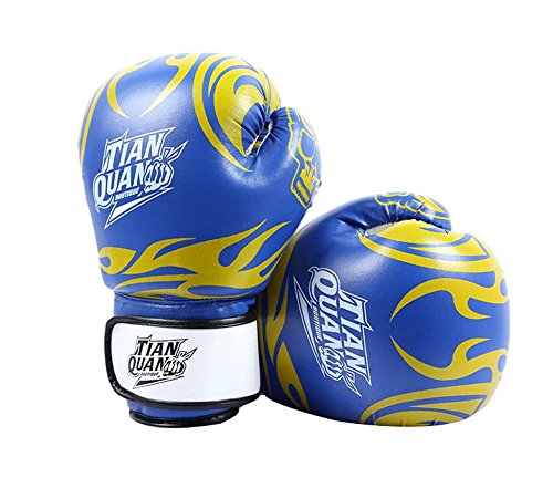 BLANCHO BEDDING 8 oz feu Totem Enfants de Boxe MMA Gants Punching Mitts de Formation pour Muay Thai Kickboxing, Bleu
