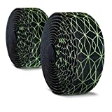 Alien Pros Bike Handlebar Tape Carbon Fiber (Set of 2) Black Green - Enhance Your Bike Grip with These Bicycle Handle...