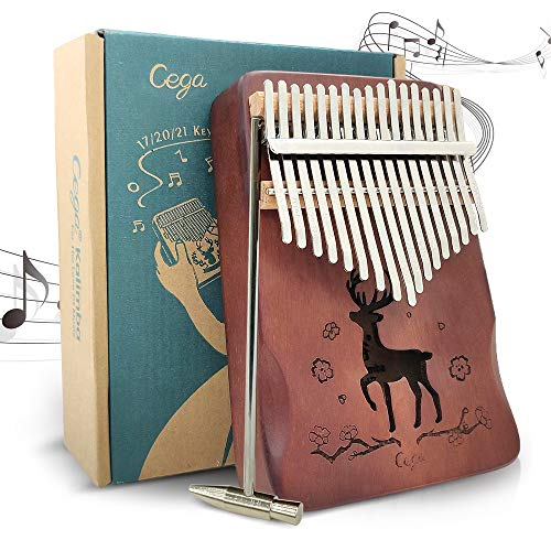 Kalimba Thumb Piano 17 Keys, Portable Wood Mbira Finger Piano with Tune Hammer and Study Instruction, Gifts for Kids and Piano Beginners Professional(Brown)