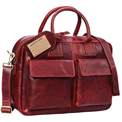 STILORD 'Carlo' Lehrertasche Damen Leder Rot Groß Umhängetasche Ledertasche Aktentasche Schultertasche College Bag Beruf 15,6 Zoll Laptop Büro