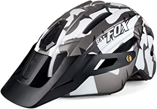 AKDSteel Bicycle Helmet Mountain Bike Integrated Riding Safety Helmet with Warning Light White Titanium Free Size,Outdoor ...