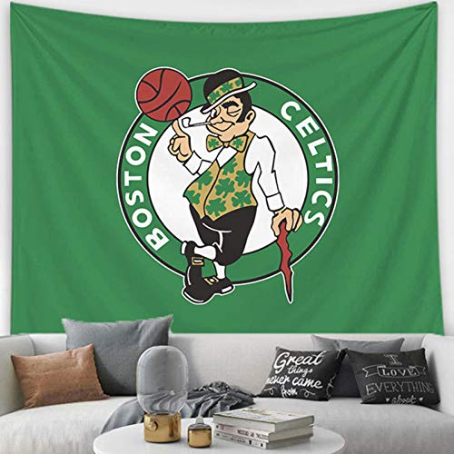 Celtics Team Logo Basketball Tapestry, Backdrop Fabric Wall Tapestry for Living Room Bedroom Dorm Home Decor with Installation Package Celtics- 150200cm