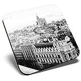 Gran posavasos cuadrado BW – Edificios Cityscape Madrid   Posavasos de calidad brillante   Protección de mesa para cualquier tipo de mesa #42702