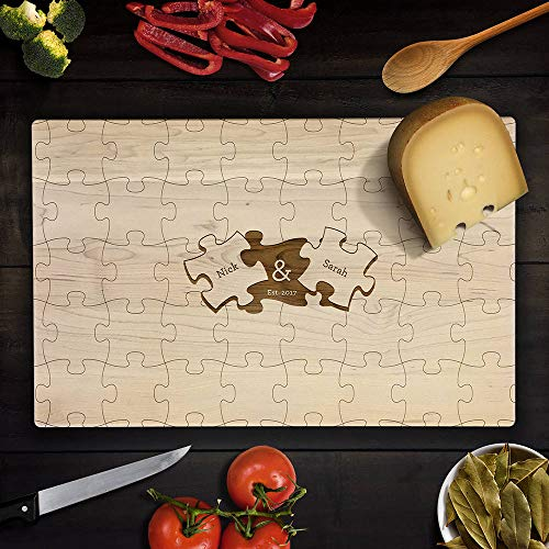 Custom Cutting Board Personalized Wedding Gift Puzzle Piece Cutting Board Romantic Chopping Block Wedding Together Puzzle Game