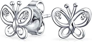 Tiny Delicate Cubic Zirconia Accent CZ Open Garden Butterfly Stud Earrings For Women For Teen 925 Sterling Silver