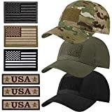 Military Patch Hat Tactical Army Hats USA Flag Operator Cap for Men (Camo, Black, Army Green, 3)