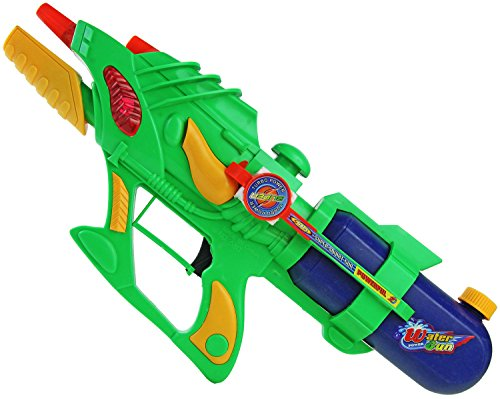 Doppelschuss Wasser-Gewehr Pump-Action 50 cm Kinder-Spielzeug Gelb Grün Blau Wasser-Spritze Sommer-Spielzeug Spielzeug-Pistole Aqua-Gun Pool-Kanone Planschbecken-Pistole Garten-Party Spielzeug-Waffe Swimming-Pool-Gun
