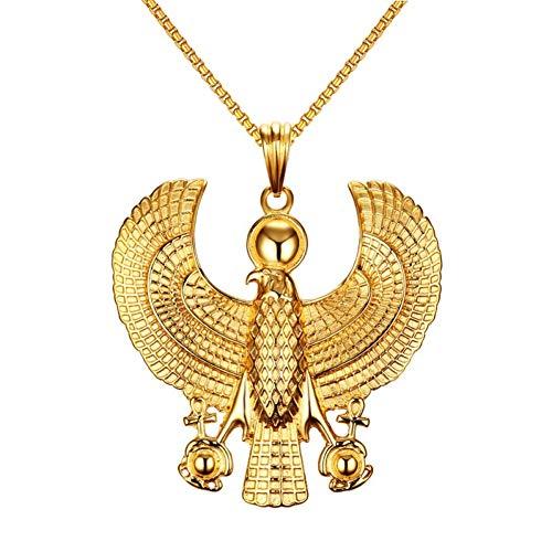 VBNMG Collar de Hombre Collares de Hombre Colgante de pájaro Egipcio Halcón con Colgante Color Oro Acero Moda Hiphop Bisutería Gargantilla 24