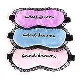 3pcs satén de encaje de dormir máscara de ojo máscara moda máscara de dormir con encaje elástico banda Sweet Dreams antifaz para las mujeres niñas
