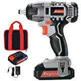 Prymax 20V MAX Cordless Impact Wrench with LED Work Light, 1/2'Chuck, Max Torque 220N.m, Variable Speed (0-2600 RPM), 1.5A Li-ion Battery and Charger Included